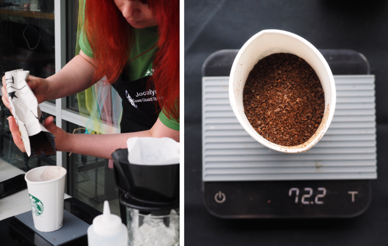 Weigh out 72 grams of coarsely ground coffee