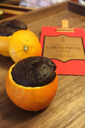 Christmas reserve with chocolate orange cakes